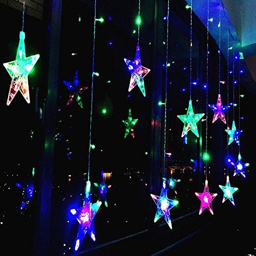 138 LED Vorhang Lichterkette,KINGCOO 2m 12 Sterne Batteriebetriebene Fenster Vorhang Fee Lichterketten Dekoleuchte für Festival Weihnachten/Hochzeit/Party/Garten Dekorationen (Bunt)