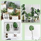 PietyPet 68 Stück 8 Arten Tropische Pflanze Palm Blätter Monsterablätter, Plastikpalmenblätter, künstliche Palmenblätter mit Stielen, für Hawaiische Luau Dschungel Strand Thema Tischdekoration - 7