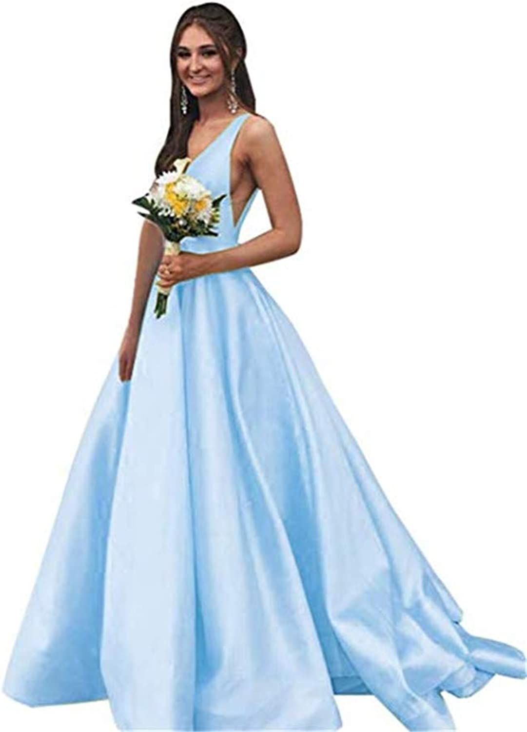 Datangep V Neck Prom Dresses Long Stain Evening Ball Gowns for Women Formal with Pockets