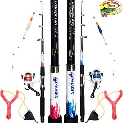 Mega Fishing Kinderangel Starter Set Tele Combo - Teleskop Rute Rolle Tasche Futterschleuder & Fertigmontage - Rot & Blau (Blau - Concept Boy)