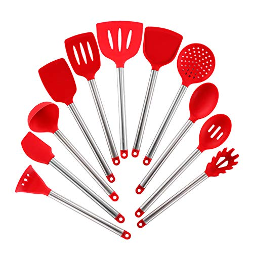 Silicone Cooking Utensils,11 Pieces Cooking Kitchen Utensils Utensil Kitchen Utensil Sets,Stainless Steel Cooking Utensil Heat-resistant Utensils,Non-Scratch And Non Stick Gadgets Tool,BPA-free