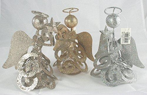 Statuetta in latta angioletto brillantinato colori argento e oro 15 cm h