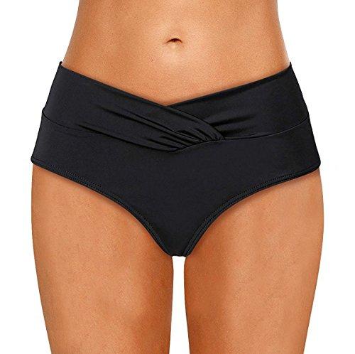LA ORCHID Laorchid Damen Frauen Bikini Unterteil Hose Hipster-Shorts V Schnitt Schwarz L