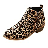 Minetom Botas Mujer Botines Ante Piel Zapatos De Cremallera Vintage Botas Tacn Ancho Cmodas Mujeres Botas Cortas Cabeza Redonda Casuales Leopardo 39 EU