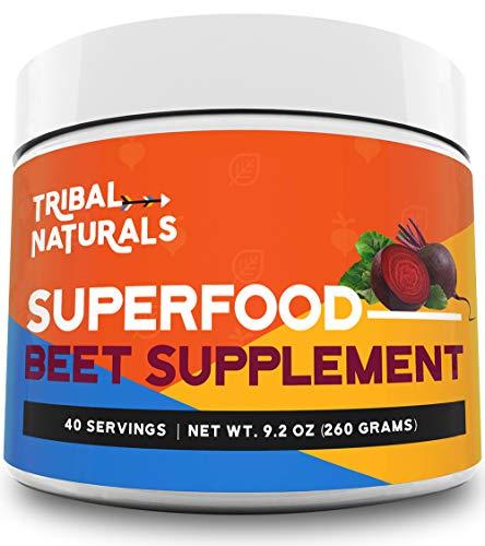 Tribal Naturals Superfood Pre Workout Powder - 9.2oz Beet Powder Nitric Oxide Booster - Super Beets Pre Workout Supplements Powder Drink Good for 40 Servings - Beet Juice Preworkout for Men \& Women