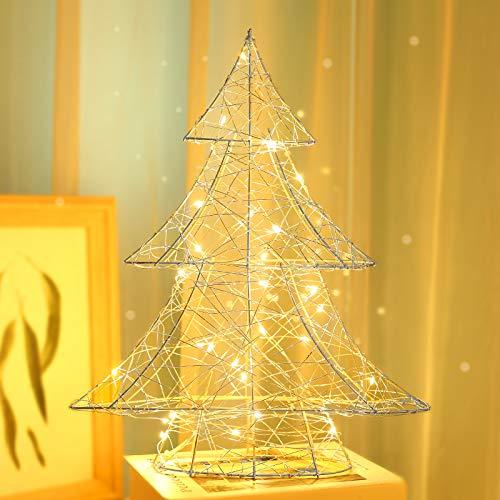 Luxspire Luce Decorativa, Luce a Forma di Albero di Natale, Lampadina Decorativa, Catene Luminose, Illuminazione Decorativa per Natale, Festa, Ornamento Esterno/Interno, Accessori Decorativi - Argento