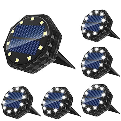 MJJLT Luces Solares De Suelo, Luces De Disco Impermeables IP68 para Jardín Al Aire Libre 10LED para Camino De Césped