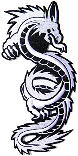 10'x5' Big Jumbo Large White Chinese Dragon Fantasy Animal Yin Yang Lady Rider Biker Tatoo Jacket T-shirt Patch Sew Iron on Embroidered Sign Badge Costume