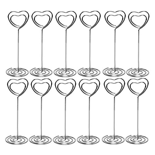 Table Number Card Holders, 25 Pack Heart Shape Table Photo Holder Table Picture Stand Place Card Holder for Paper Menu Clips (Silver)