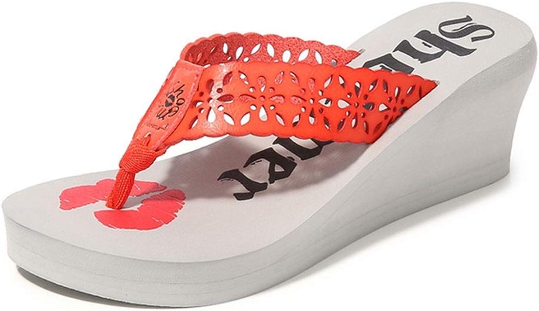 Womens Boho Wedge Heel Flip-Flops 3D Lip Pattern Thongs Sandals Ladies Summer Outdoor Beach shoes,C,38