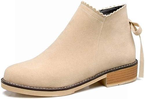 ZHRUI botas para mujer - Europa y los Estados Unidos botas Individuales botas Planas botas para mujer botas Martin esmeriladas botas de otoño e Invierno   36-43 (Color   Buff, tamaño   41)