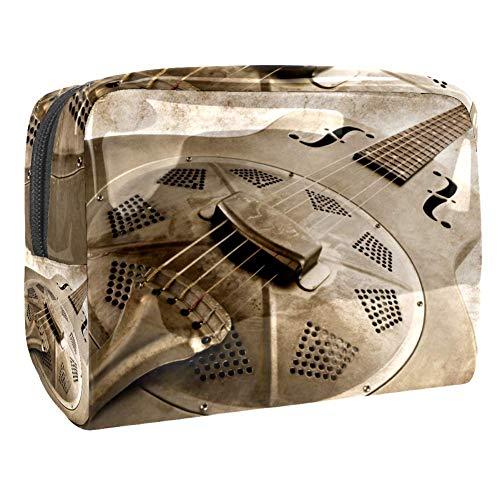 TIZORAX Vintage Blues Gitarre Kosmetiktasche PVC Make-up-Tasche Reise Toilettenartikel Handlicher Beutel Organizer für Frauen