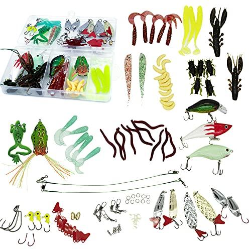Cebo De Pesca, Accesorios de Pesca, Accesorios de Kit de Cebo Suministros de Pesca de Cebo Artificial, Kit de Cebo Portátil con Plantilla de Pesca Suave y Anzuelo de Pesca (con Caja)