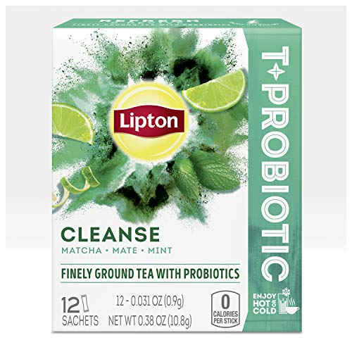 Lipton T+Probiotic Herbal Tea Sachets For a Hot or Iced Herbal Tea Beverage with Matcha Mate and Mint Cleanse Finely Ground Herbal Tea With Probiotics 0.38 oz 12 Servings