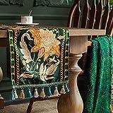 Michorinee Tischläufer Tischdeko Tischdecken Luxuriös Grün Abwaschbar Vintage Blumen Muster Wassedichte Baumwolle Tischwäsche Mitteldecke Weihnachten für Esstisch Gartentische, 32 × 160cm