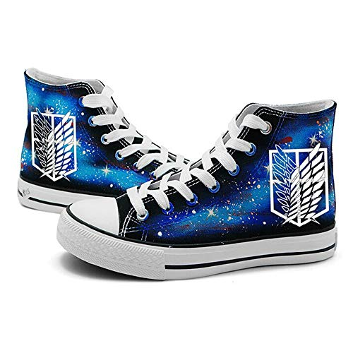 Memory meteor Attack on Titan Cosplay Shoes Luminous Anime Manga The Survey Corps Canvas Shoes Sneakers,Blue,36/6