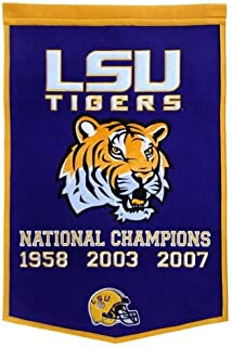 Louisiana State LSU Tigers Football Championship Dynasty Banner - with hanging rod
