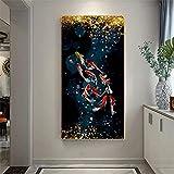 Wunderschönes Bild 60x120cm rahmenlose Koi Fisch Feng Shui