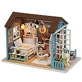 Miniatur Puppenhaus Kit, DIY Holzhaus Miniatur Möbel Kit Haus Spielzeug mit LED-Leuchten Haus...