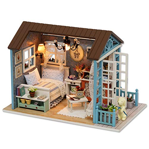 Fdit DIY Wooden Cottage Miniature Furniture Kit House Toy with LED Lights for Kids Gifts Home Decoration