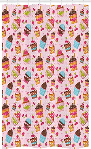 ABAKUHAUS Cupcake Schmaler Duschvorhang, Erdbeeren Kirschen Muffins, Badezimmer Deko Set aus Stoff mit Haken, 120 x 180 cm, Hellrosa Braun Babyblau Senf