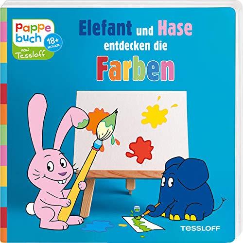 Pappebuch. Elefant und Hase entdecken die Farben: Elefantastischer Lesespaß zum Staunen, Entdecken und Mitmachen (Bilderbuch ab 18 Monate)