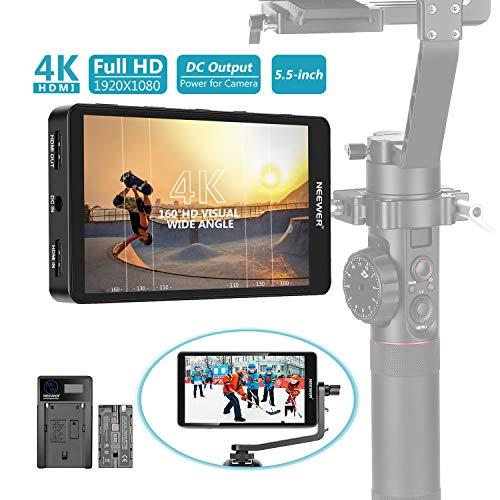 Neewer FW568 5.5 Zoll Kamera Feld Monitor 1920x1080 IPS Bildschirm Unterstützung 4K HDMI DC Eingang Ausgang Histogramm 2600 mAh Li-Ionen Akku/USB Ladegerät für DSLRs GH5 Canon 5D Mark IV usw