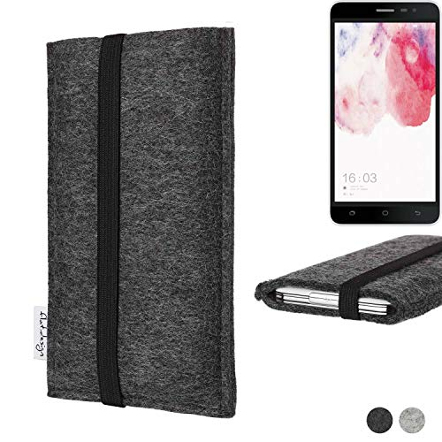 flat.design Handy Tasche Coimbra für Hisense F20 Dual-SIM - Schutz Hülle Tasche Filz Made in Germany anthrazit schwarz