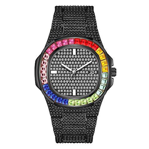 Tutti gli orologi di diamanti gli uomini Bling-ed Out rotonda in cristallo Luxury Iced out Watch bracciali Hip Hop Vogue Orologi Cinturino in acciaio inossidabile Argento/OroOro/rosa (Nero 1)