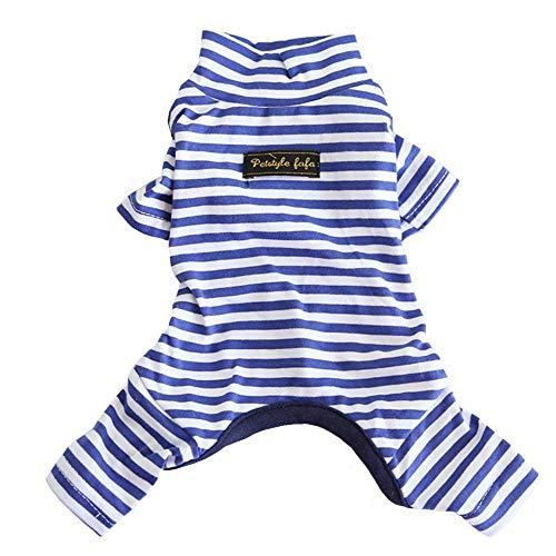 Hdwk&Hped Hunde-Pyjama aus weicher Baumwolle für alle Jahreszeiten, gestreifter Overall für kleine Hunde und Katzen