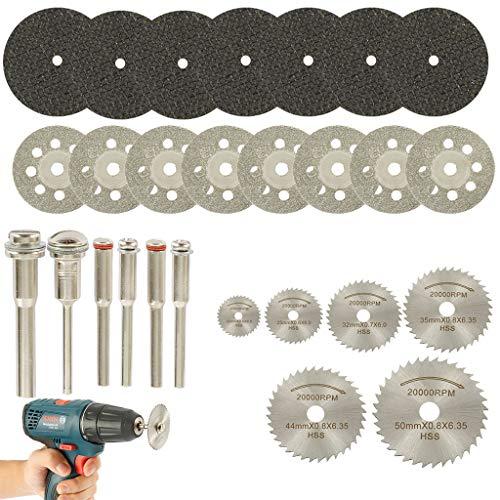 Hibye 32Pcs Diamond Cutting Disc Kits, 1/8' Shank Mini Cut Off Wheel Rotary Tool Accessories with 6Pcs Mandrels for Plastic Metal Wood Stone
