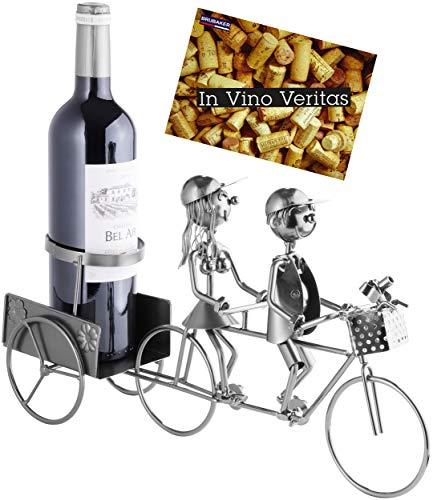 Brubaker Flaschenhalter Paar auf Tandem Fahrrad Metall Skulptur mit Geschenkkarte