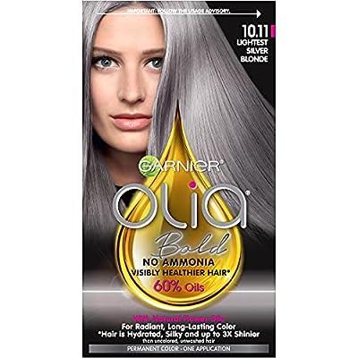 Garnier Bold Collection, Ammonia Free Hair Dye, Permanent Olia Color with Non-Drip Velvet Cream Formula, 10.11 Lightest Silver Blonde