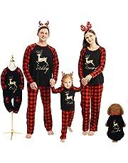 Hinzonek jul familj passande klädset husdjur baby barn män kvinnor ren pläd jul pyjamas ledig nattlinne hemkläder (män/M)
