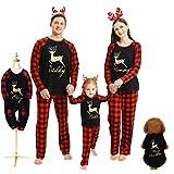 Hinzonek Weihnachten Familie Passende Kleidung Set Haustier Baby Kind Männer Frauen Rentier Plaid Weihnachten Pyjama Lässig Nachthemd Homewear (Baby / 0-6 Monate)