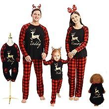 Hinzonek Navidad Familia Conjunto de Ropa a Juego Mascota Bebé Niño Hombres Mujeres Reno Cuadros Pijamas de Navidad Camisón Casual Homewear