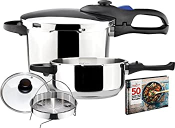 Magefesa Favorit 4.2 & 6.3 Qt Stainless Steel Pressure Cooker Set