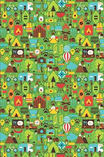 Hike Pattern - Colorful Hiking Icons Green: Blank Lined Notebook for Hiking and Camping