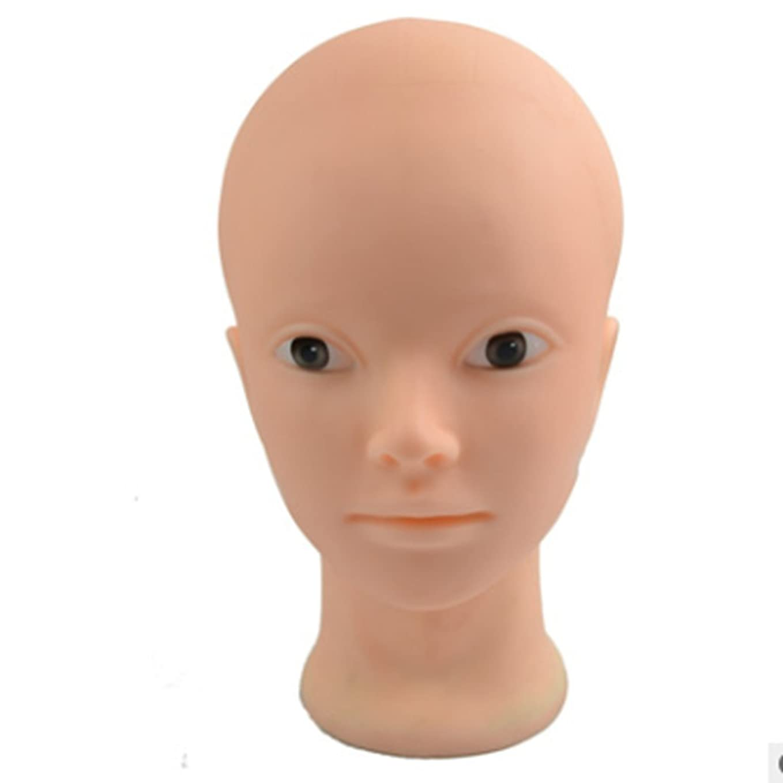 見ました美的スワップカットハサミ ヘアスタイリングツール 25センチウィッグヘッド金型、ポリ塩化ビニールのプラスチック製の人形の鍼療法の練習はげとメガネスカーフモデルウィッグヘッド ヘアカットシザー (色 : ホワイト)