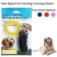 IREENUO Nouveau Style 2 en 1 pour animal domestique Chien Chiot Dressage Sifflet de chien Clicker avec porte-clés Dragonne pour chien chat Cheval