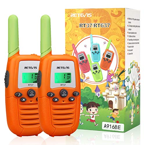 Retevis RT37 Kids Walkie Talkies,for 3-14 Year Old Boys Girls,Toys and Gifts with Flashlight Backlit VOX,for Children and Senior Camping Hiking Riding(Orange,2 Pack)
