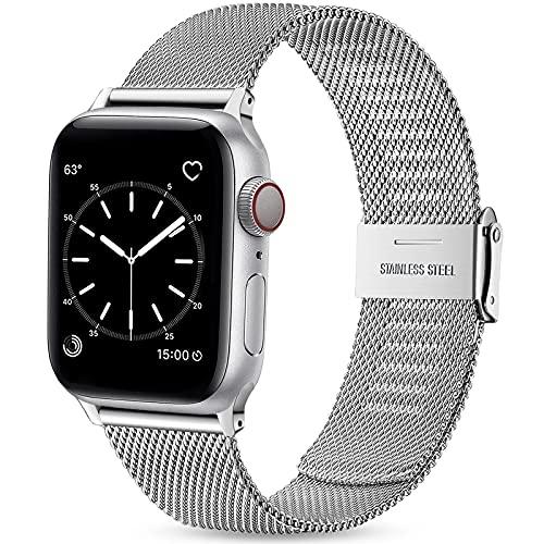Wepro Ersatzarmband Kompatibel mit Apple Watch Armband 40mm 38mm für Damen/Herren, Klassisches Mesh Geschäft Metall Uhrenarmband für Apple Watch SE/iWatch Series 6 5 4 3 2 1, 40mm 38mm/Silber