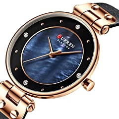 Creative Simple Quartz Watch Women's Dress Steel Mesh Watches New Clock Ladies Bracelet Watch relogios Feminino (Blue-Leather) #1