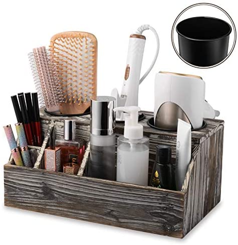 Wooden Hair Dryer Holder Rustic Hair Care Tool Organizer Bath Supplies Accessories Tray Stand product image