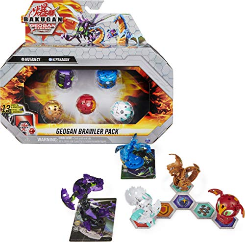 Bakugan Geogan Brawler 5-Pack, Exclusive Mutasect and Viperagon Geogan and 3 Collectible Action Figures