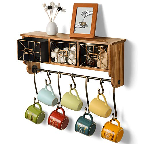 ikkle Rustic Coat Rack Wall Shelf with Hooks Entryway Organizer Hanging Shelf for Mug Coffee Cup Holding Solid Wooden Shelf with 3 Baskets for Kitchen Living Room or Bedroom, 7 Curved Hooks