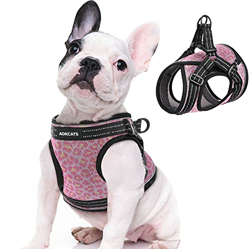 AOKCATS Small Dog Harness, Adjustable Leopard Puppy Harness and Cat Harness Soft Mesh Dog and Cat Universal Harness Reflective Step-in Vest Harness Comfort Fit for Puppy Small Medium Dogs and Cat