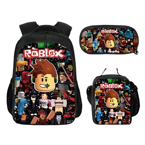 Ro-blox 3D Sac à dos d'école, sac à dos pour étudiant, ordinateur de voyage, sac à dos, sac à déjeuner + trousse à crayons élégant (Roblox 1,27 x 17 x 40 cm (16 pouces)