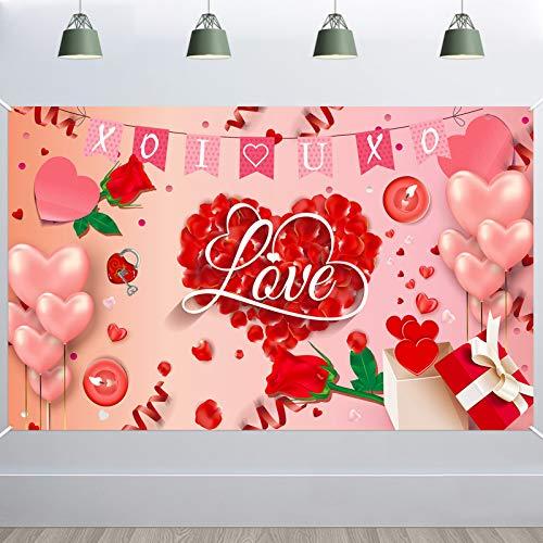 HOWAF Große Rose Rotes Herz Banner für Romantisch Dekoration, Ich liebe dich Stoff Banner für Valentinstag Hochzeit Dekoration Hintergrund Tisch Wand Haus Drinnen Draußen Romantisch Deko 4,9 * 3,3 Fuß