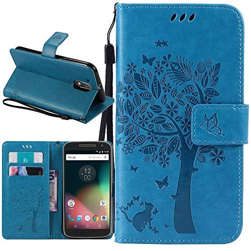 Moto G4 Case, Moto G4 Plus Case, Linkertech [Kickstand Feature] PU Leather Wallet Flip Pouch Case Cover with Wrist Strap & Card Slots for Moto G (4th Generation) / G4 Plus (Blue)